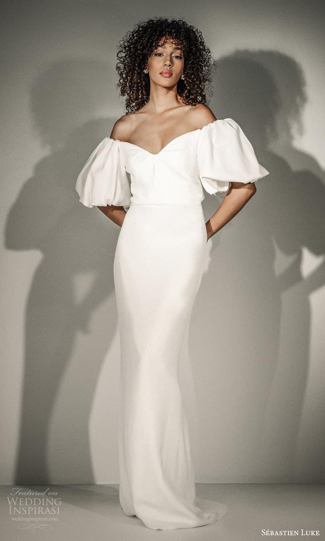 sebastien luke fall 2021 bridal puff sleeve off shoulder v neckline clean minimalist sheath wedding dress (7) mv