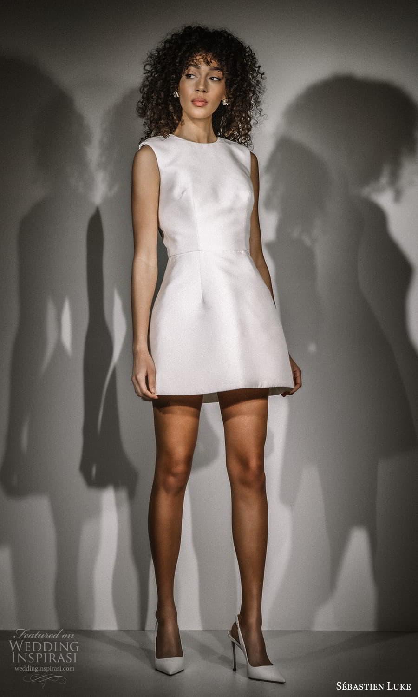 sebastien luke fall 2021 bridal sleeveless jewel neckline clean minimalist a line short wedding dress (6) mv