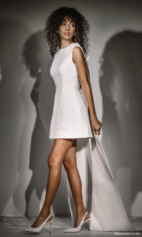 sebastien luke fall 2021 bridal sleeveless jewel neckline clean minimalist a line short wedding dress (6) sv