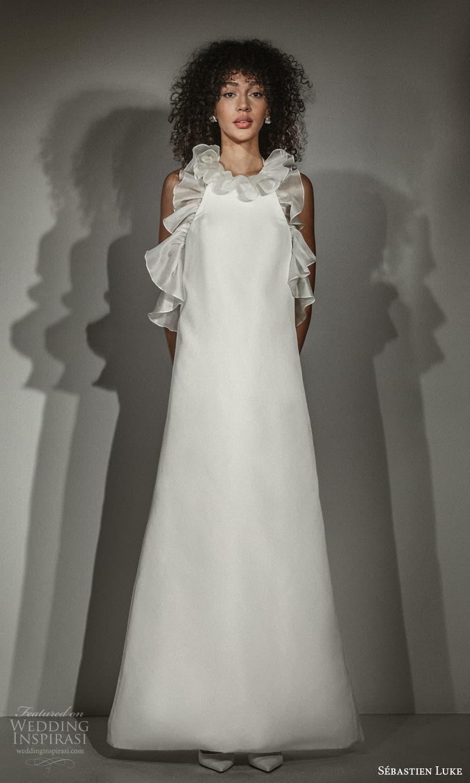 sebastien luke fall 2021 bridal sleeveless jewel neckline ruffle embellished clean minimalist tent wedding dress (8) mv