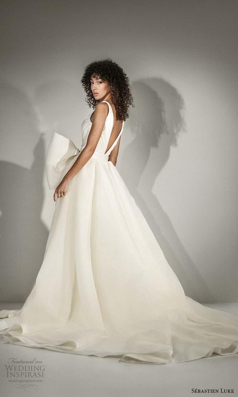 sebastien luke fall 2021 bridal sleeveless straps v neckline ruched bodice clean minimalist a line wedding dress chapel train (1) bv