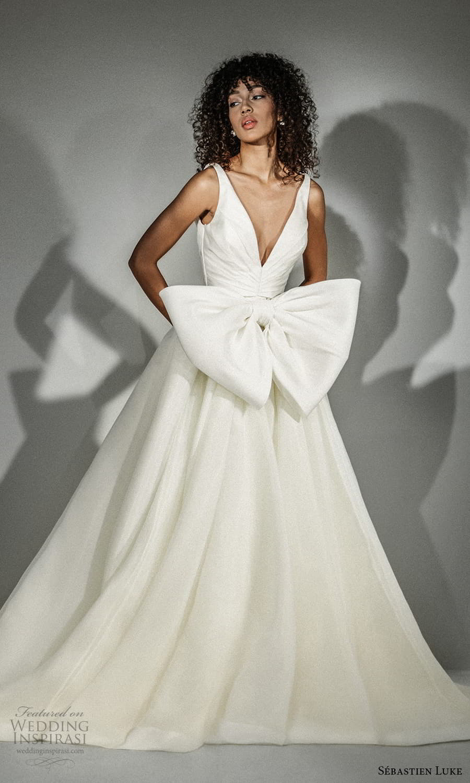 sebastien luke fall 2021 bridal sleeveless straps v neckline ruched bodice clean minimalist a line wedding dress chapel train (1) mv