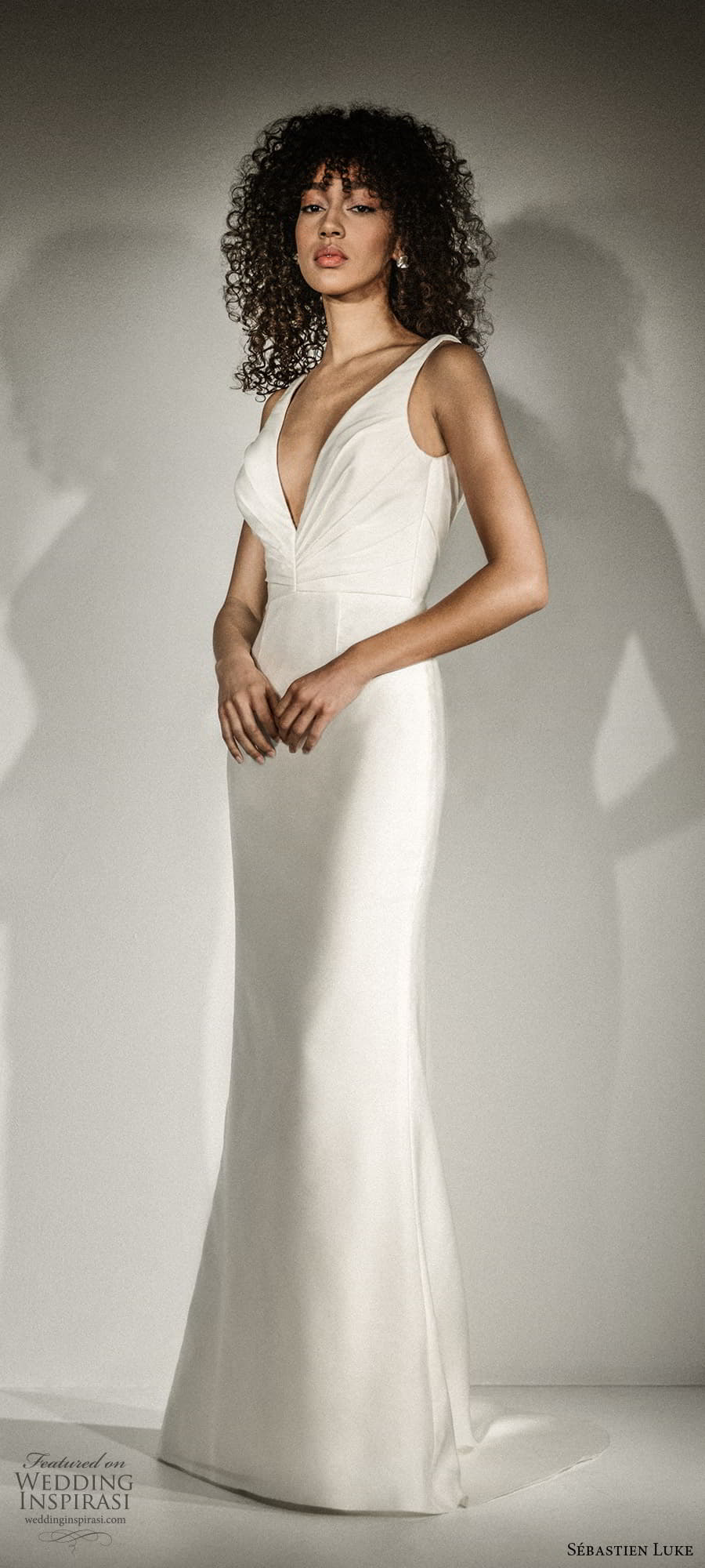 sebastien luke fall 2021 bridal sleeveless straps v neckline ruched bodice clean minimalist sheath wedding dress sweep train (3) mv