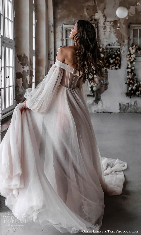gala galia lahav 2022 capsule bridal long balloon sleeve off shoulder sweetheart neckline clean minimalist a line ball gown wedding dress chapel train blush (4) bv