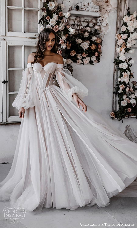 gala galia lahav 2022 capsule bridal long balloon sleeve off shoulder sweetheart neckline clean minimalist a line ball gown wedding dress chapel train blush (4) fv