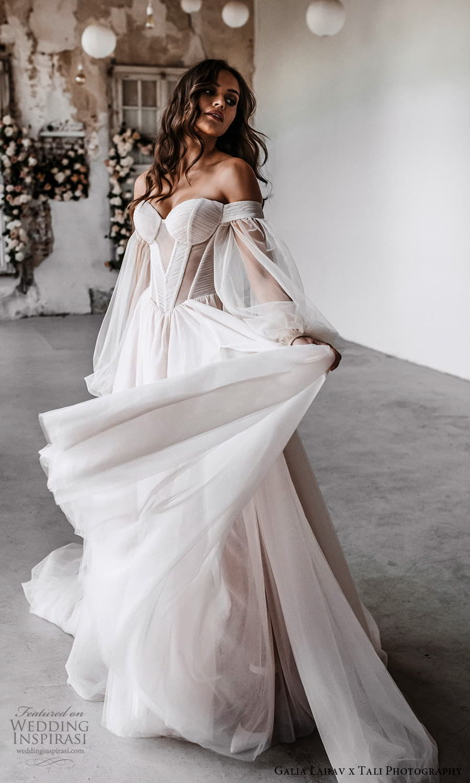gala galia lahav 2022 capsule bridal long balloon sleeve off shoulder sweetheart neckline clean minimalist a line ball gown wedding dress chapel train blush (4) mv