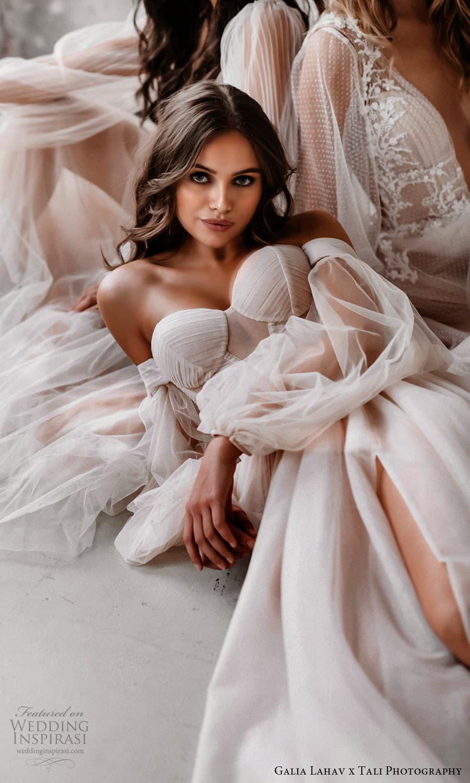 gala galia lahav 2022 capsule bridal long balloon sleeve off shoulder sweetheart neckline clean minimalist a line ball gown wedding dress chapel train blush (4) zv