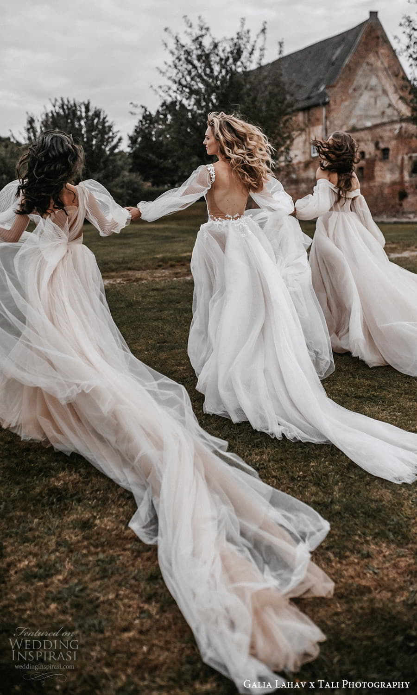 gala galia lahav 2022 capsule bridal long sheer bishop puff sleeves plunging v neckline pleated bodice a line wedding dress sheer skirt blush chapel train (2) bv