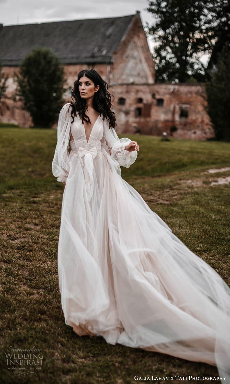 gala galia lahav 2022 capsule bridal long sheer bishop puff sleeves plunging v neckline pleated bodice a line wedding dress sheer skirt blush chapel train (2) fv