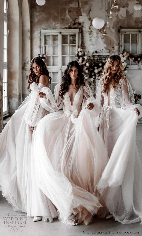 gala galia lahav 2022 capsule bridal long sheer bishop puff sleeves plunging v neckline pleated bodice a line wedding dress sheer skirt blush chapel train (2) mv