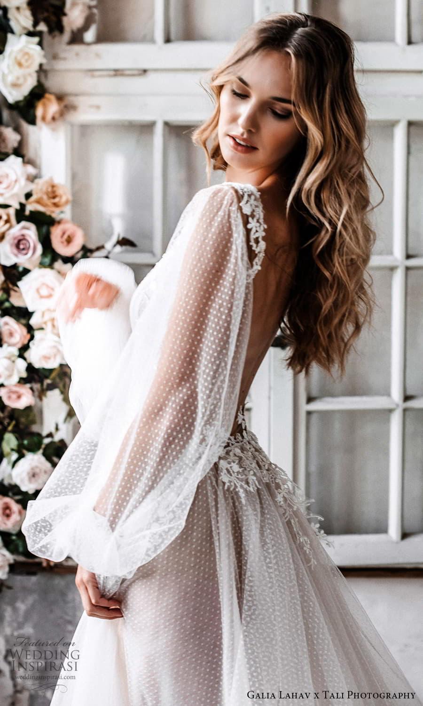 gala galia lahav 2022 capsule bridal long sheer bishop puff sleeves plunging v neckline pleated bodice a line wedding dress sheer skirt blush chapel train (2) sv