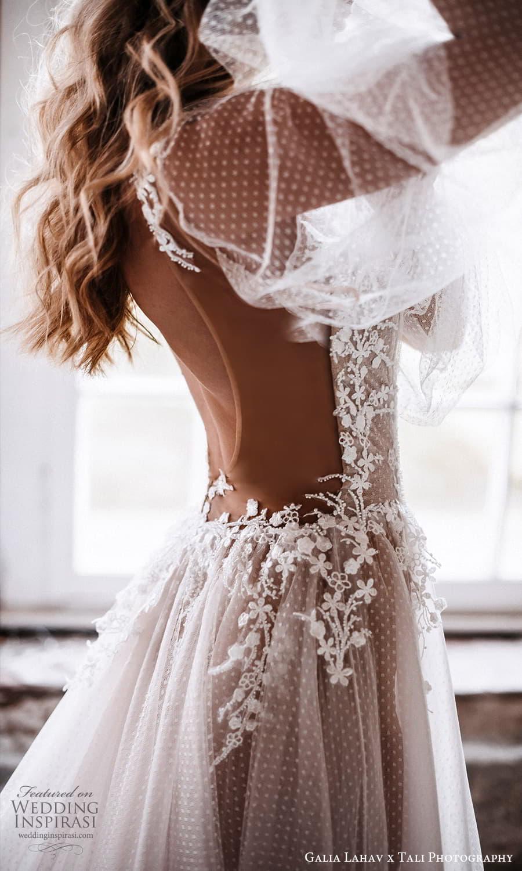 gala galia lahav 2022 capsule bridal long sheer bishop puff sleeves plunging v neckline pleated bodice a line wedding dress sheer skirt blush chapel train (2) zsv
