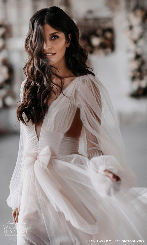 gala galia lahav 2022 capsule bridal long sheer bishop puff sleeves plunging v neckline pleated bodice a line wedding dress sheer skirt blush chapel train (2) zv