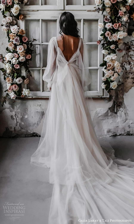 gala galia lahav 2022 capsule bridal long sheer bishop puff sleeves plunging v neckline pleated bodice a line wedding dress sheer skirt blush chapel train v back (2) bv