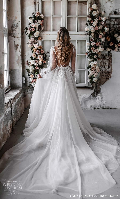 gala galia lahav 2022 capsule bridal sheer long bishop sleeve plunging v neckline dotted tulle a line wedding dress chapel train (3) bv
