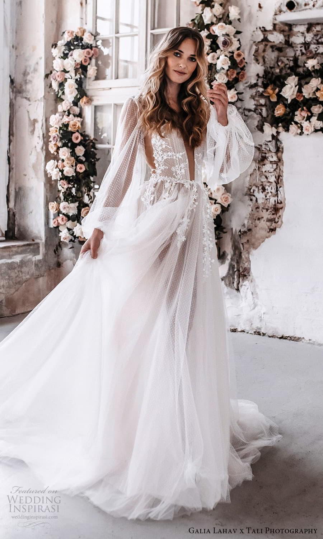 gala galia lahav 2022 capsule bridal sheer long bishop sleeve plunging v neckline dotted tulle a line wedding dress chapel train (3) mv
