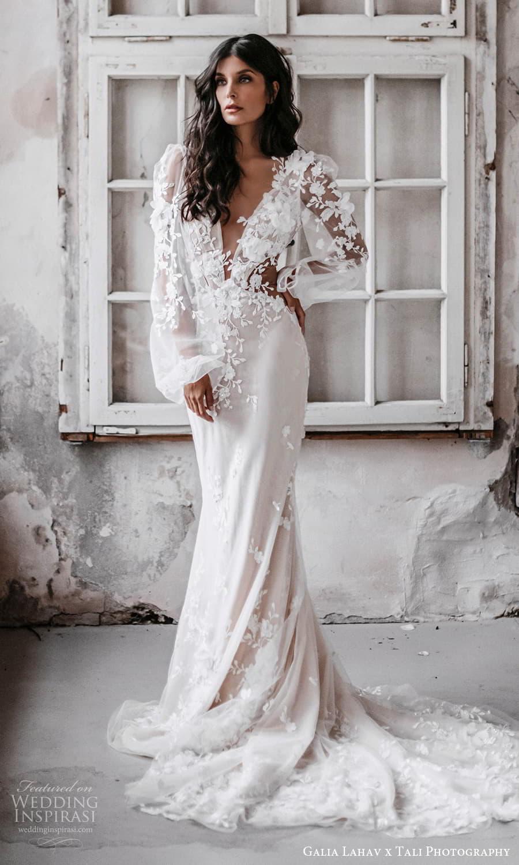 gala galia lahav 2022 capsule bridal sheer long bishop sleeves plunging v neckline embellished bodice sheath wedding dress chapel train (1) mv