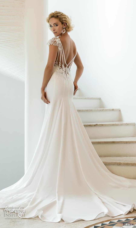 jillian 2022 bridal cap sleeve jewel neckline minimalist sheath wedding dress embellished v back chapel train (5) bv