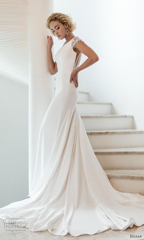 jillian 2022 bridal cap sleeve jewel neckline minimalist sheath wedding dress embellished v back chapel train (5) mv