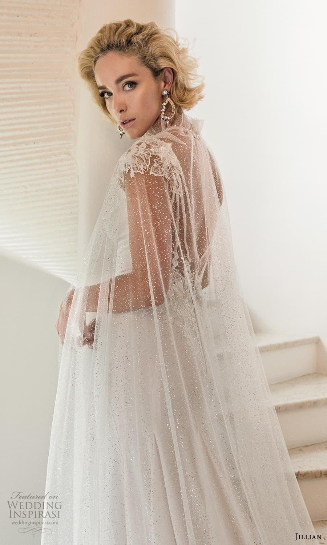 jillian 2022 bridal cap sleeve jewel neckline minimalist sheath wedding dress embellished v back chapel train cape (5) zbv