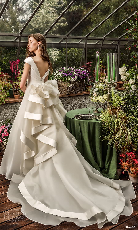 jillian 2022 bridal cap sleeve surplice v neckline clean minimalist a line wedding dress chapel train (20) bv