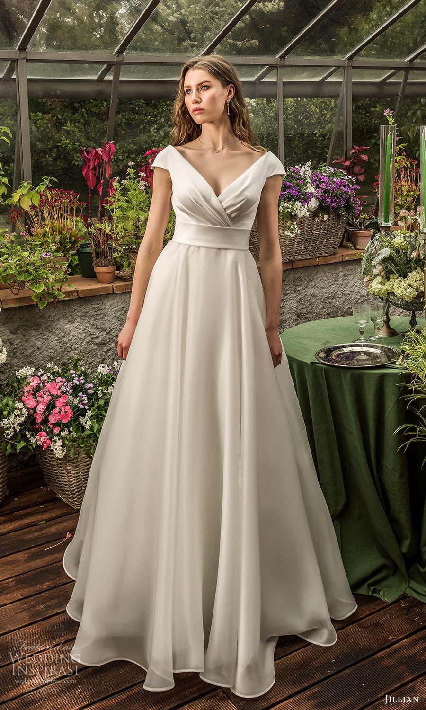 jillian 2022 bridal cap sleeve surplice v neckline clean minimalist a line wedding dress chapel train (20) mv