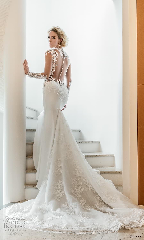 jillian 2022 bridal illusion long sleeve sheer high neck sweetheart neckline embellished bodice sheath wedding dress chapel train (1) bv