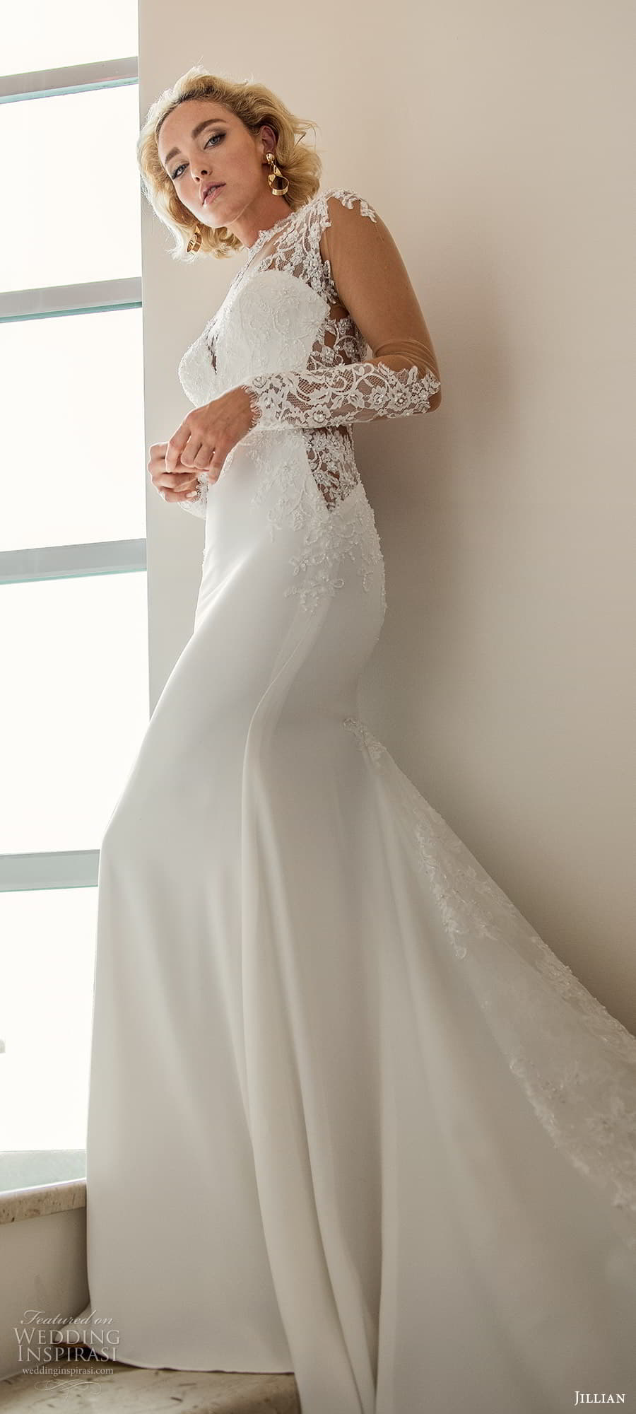 jillian 2022 bridal illusion long sleeve sheer high neck sweetheart neckline embellished bodice sheath wedding dress chapel train (1) lv