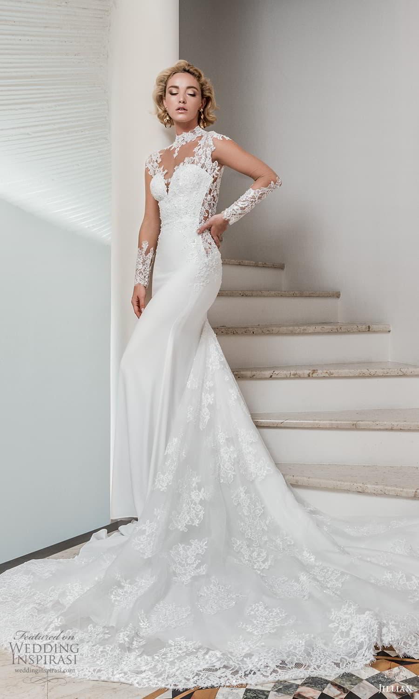jillian 2022 bridal illusion long sleeve sheer high neck sweetheart neckline embellished bodice sheath wedding dress chapel train (1) mv