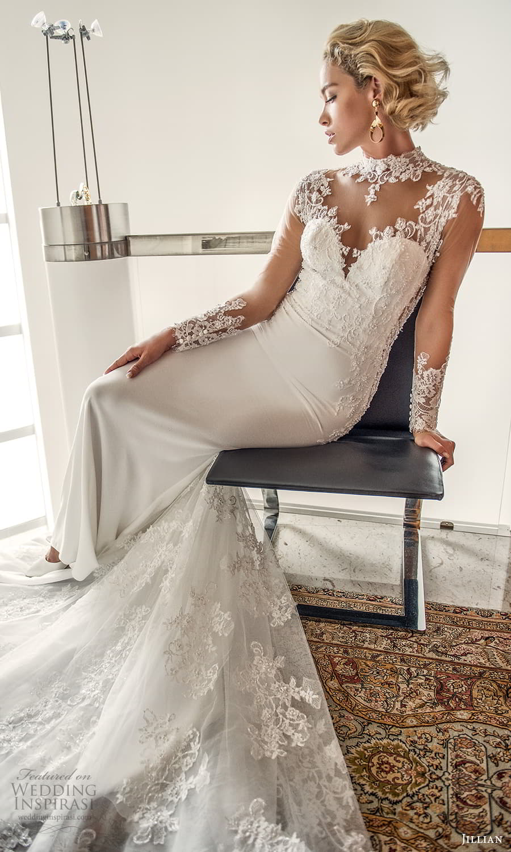 jillian 2022 bridal illusion long sleeve sheer high neck sweetheart neckline embellished bodice sheath wedding dress chapel train (1) zv