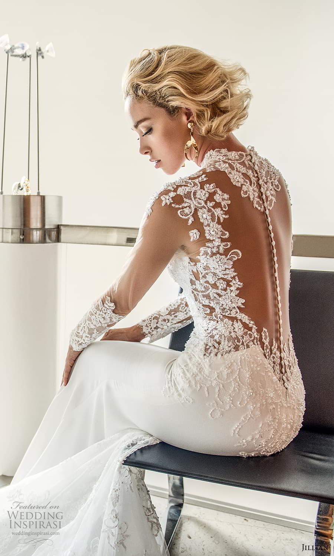 jillian 2022 bridal illusion long sleeve sheer high neck sweetheart neckline embellished bodice sheath wedding dress chapel train illusion back (1) zbv