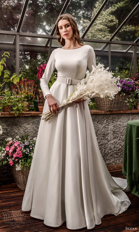 jillian 2022 bridal long sleeve bateau neckline clean minimalist a line wedding dress chapel train (16) mv