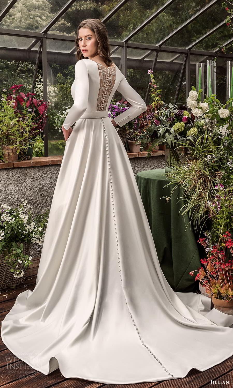 jillian 2022 bridal long sleeve bateau neckline clean minimalist a line wedding dress chapel train illusion back (16) bv