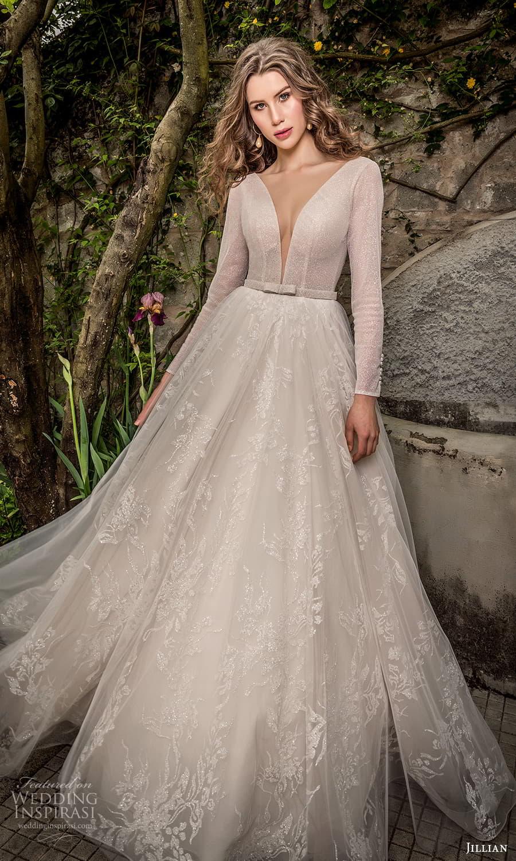 jillian 2022 bridal long sleeve plunging v neckline embellished bodice a line ball gown wedding dress chapel train (18) mv
