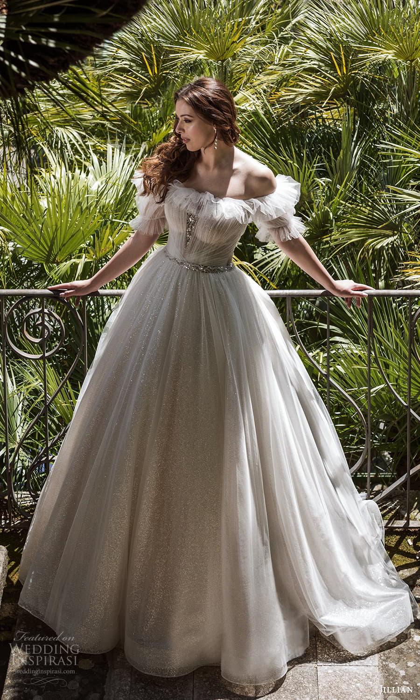 jillian 2022 bridal puff sleeve off shoulder crumbcatcher neckline ruched bodice a line ball gown wedding dress chapel train (18) fv