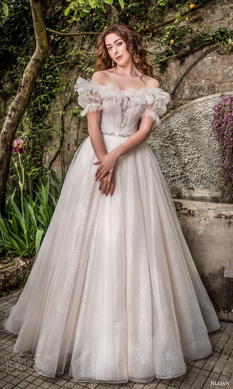 jillian 2022 bridal puff sleeve off shoulder crumbcatcher neckline ruched bodice a line ball gown wedding dress chapel train (18) mv