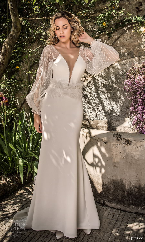 jillian 2022 bridal sheer bishop sleeve plunging v neckline sheath wedding dress chapel train (22) mv