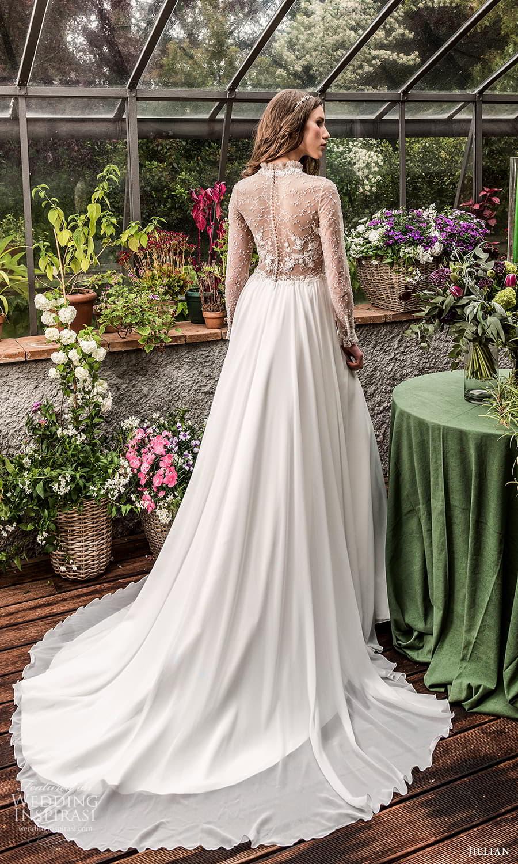 jillian 2022 bridal sheer long sleeve high neckline sheer embellished bodice a line wedding dress chapel train (14) bv
