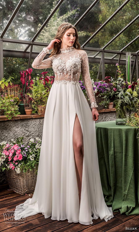 jillian 2022 bridal sheer long sleeve high neckline sheer embellished bodice a line wedding dress chapel train (14) mv