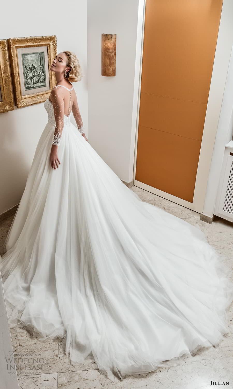 jillian 2022 bridal sheer long sleeve illusion bateau neck sweetheart neckline embellished bodice a line ball gown wedding dress chapel train (7) bv