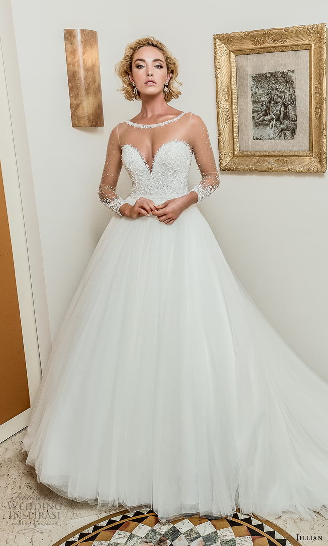 jillian 2022 bridal sheer long sleeve illusion bateau neck sweetheart neckline embellished bodice a line ball gown wedding dress chapel train (7) fv