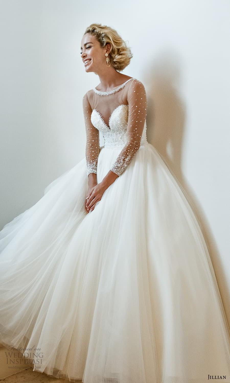 jillian 2022 bridal sheer long sleeve illusion bateau neck sweetheart neckline embellished bodice a line ball gown wedding dress chapel train (7) mv