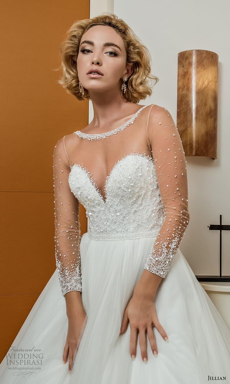 jillian 2022 bridal sheer long sleeve illusion bateau neck sweetheart neckline embellished bodice a line ball gown wedding dress chapel train (7) zv