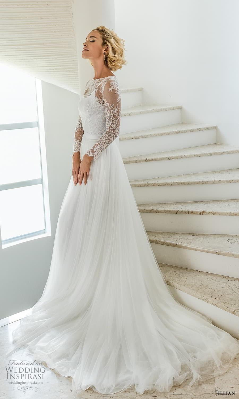 jillian 2022 bridal sheer long sleeve jewel neckline embellished lace bodice a line wedding dress chapel train (9) mv