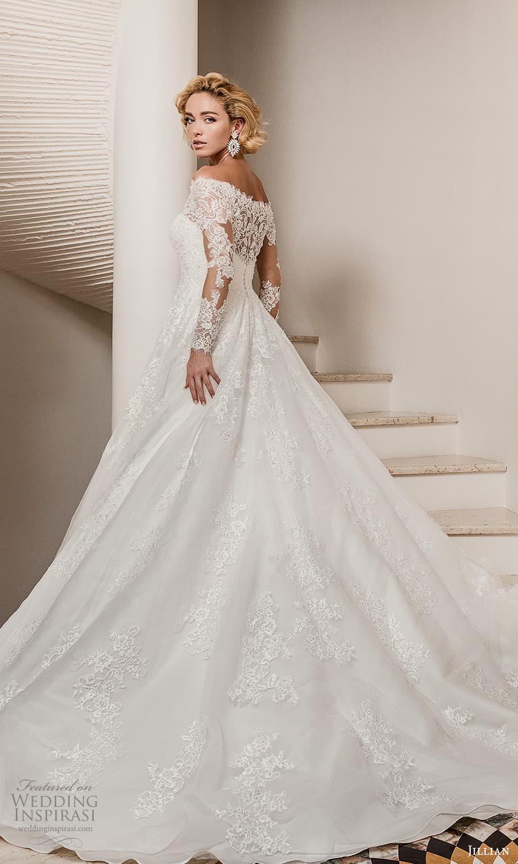 jillian 2022 bridal sheer long sleeve off shoulder illusion neck sweetheart neckline embellished a line ball gown wedding dress chapel train (6) bv