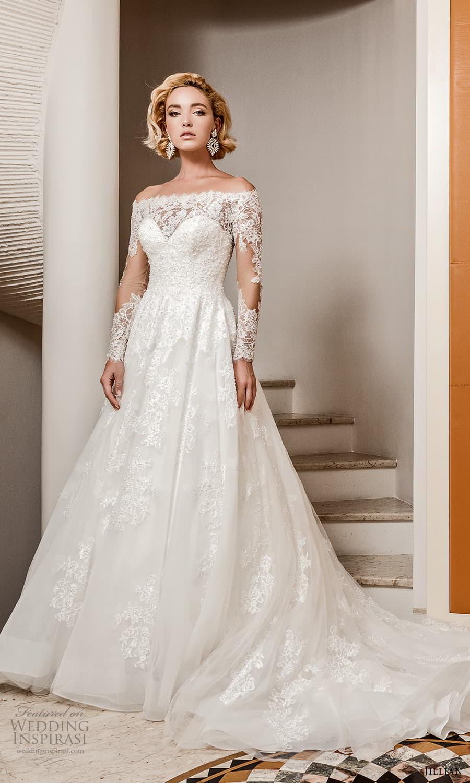 jillian 2022 bridal sheer long sleeve off shoulder illusion neck sweetheart neckline embellished a line ball gown wedding dress chapel train (6) mv