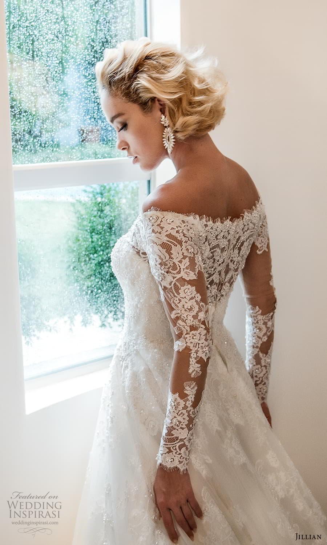 jillian 2022 bridal sheer long sleeve off shoulder illusion neck sweetheart neckline embellished a line ball gown wedding dress chapel train (6) zbv
