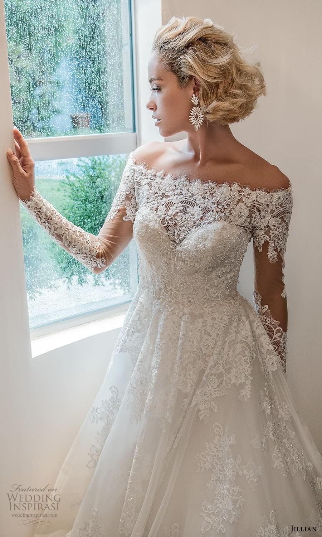 jillian 2022 bridal sheer long sleeve off shoulder illusion neck sweetheart neckline embellished a line ball gown wedding dress chapel train (6) zv