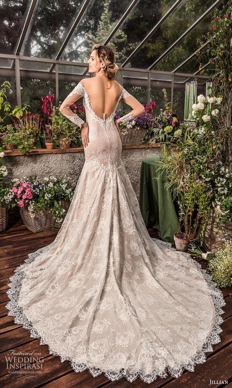 jillian 2022 bridal sheer long sleeve off shoulder sweetheart neckline fully embellished lace fit flare modified a line wedding dress chapel train (13) bv