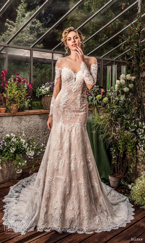jillian 2022 bridal sheer long sleeve off shoulder sweetheart neckline fully embellished lace fit flare modified a line wedding dress chapel train (13) mv